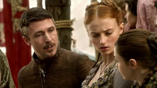 Sansa and Arya Stark with Petyr Baelish