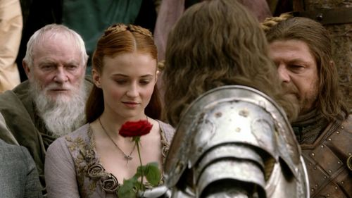 Sansa and Eddard Stark with Loras Tyrell