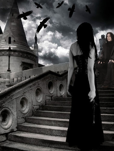 Severus and a lady at Hogwarts