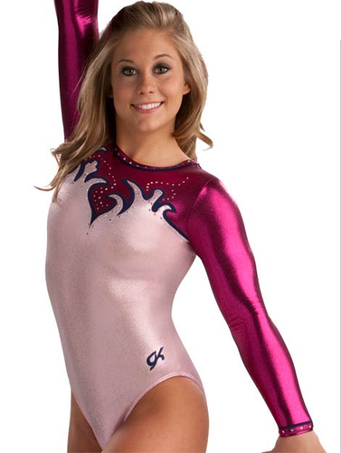 Shawn Johnson wallpaper possibly with tights and a leotard called Stunning Scalloped Comp leotard