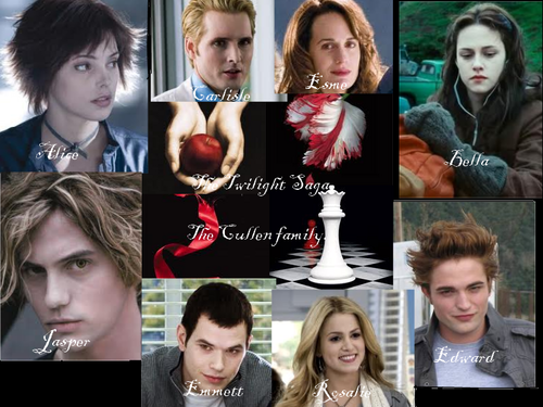 Jackson Rathbone & Ashley Greene wallpaper probably with a bridesmaid and a portrait titled The Cullens