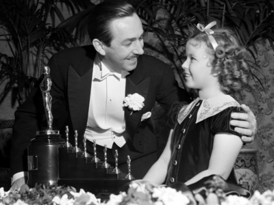 Who is the actress pictured here with Walt Disney ?