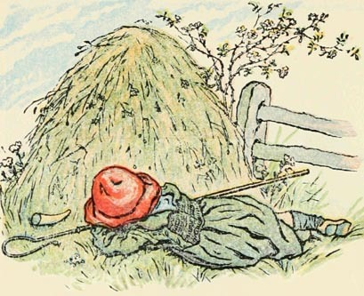 Who's still under the haystack, fast asleep?