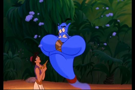 When अलादीन told Genie about his प्यार for Jasmine, which of her features DIDN'T he mention?