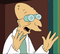 How is Professor Farnsworth related to Fry?