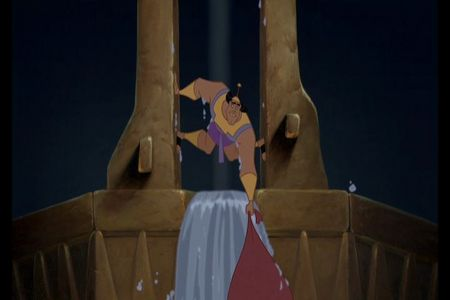 What unexpectedly pops into the picture after Kronk saves Kuzco from the waterfall?