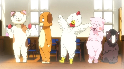 Easy one - when HTT are dressed in their kigurumi (着包み - full-body character costumes) for recruiting, who is in what costume?