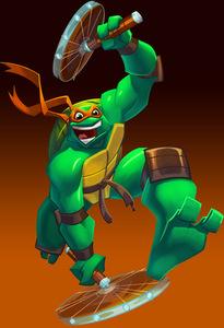 Which 龟, 海龟 wears an 橙子, 橙色 mask?