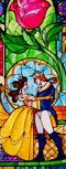 How many dogs are pictured in the stained glass window of the Belle & Beast at the end of Beauty and the Beast?