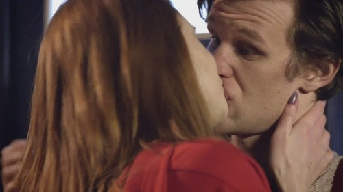 Where did Amy and the Doctor kiss?