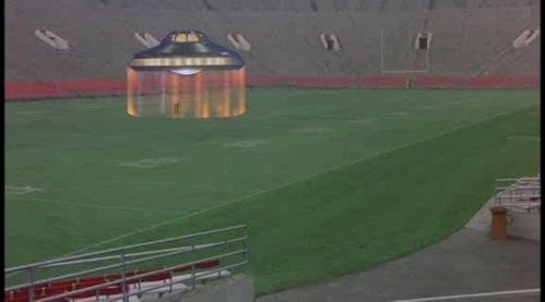 """in """"return to witch mountain"""" (1978) the flying saucer landing on rose bowl, which yards landing on ?"""