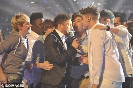 When Matt won the x factor (One Direction should have) all the contestants ran on stage at the end! Who was the first to run on stage??