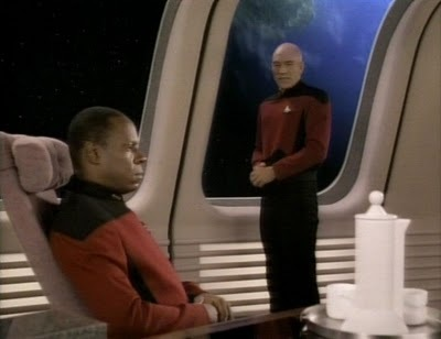 In what episode did Sisko tell Picard they'd met previously in battle?