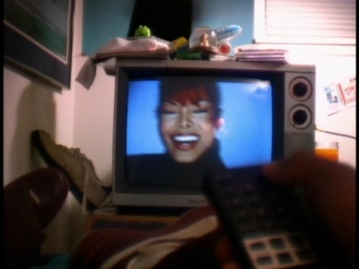 In how many Janet's video clips she is appearing on TV screen ?