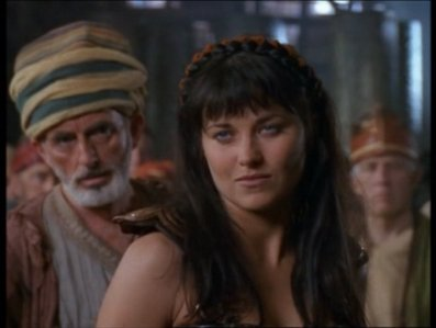 The first citizen of Amphipolis offers the loot wagons. What is Xena's reply?