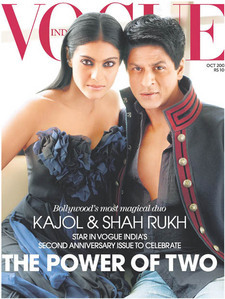 In which year did Kajol and Shahrukh Khan appear together on the cover of the Indian Vogue?