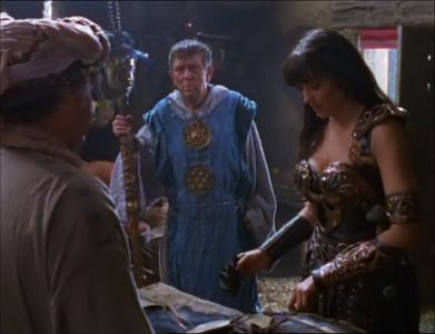 """At the end of """"Dreamworker"""" Elkton also says to Xena: """"From now on, the only thing we'll sacrifice will be _____ - thanks to you""""."""