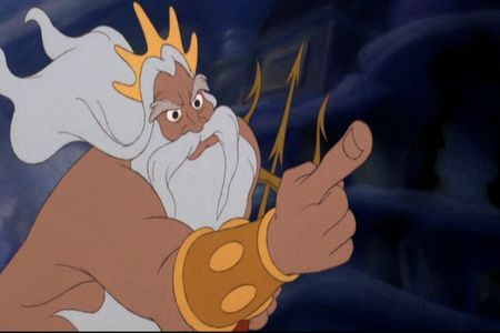 "During the ""Destruction of the Grotto"" scene, what does KIng Triton destroy first?"