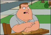 "Joe Swanson Quotes: ""Can't blame 'em for being ______________, the black ball's in their neighborhood uninvited."""