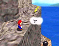 Mario Enemies - This cloud enemy attacks by blowing strong gusts of wind in order to push characters off high altitudes