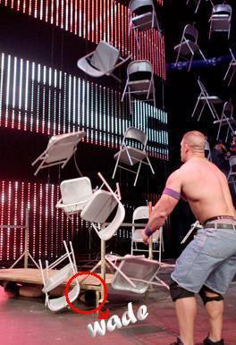 how many chairs cena droped on wade?
