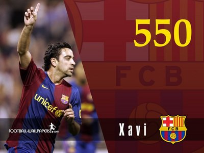 Against which team did he make his 550 appearance with Barcelonas team?