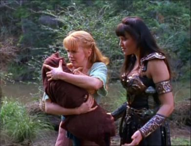 What do Xena and Gabrielle decide to do about the child?