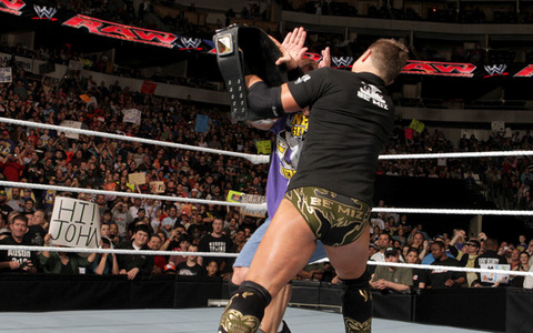In RAW, March 7th.. How many times did The Miz hits John Cena using the WWE championship belt?