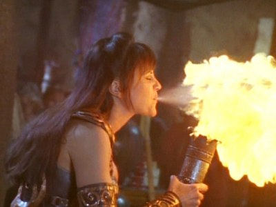 In which episode does Xena do the breath of fire for the first time?
