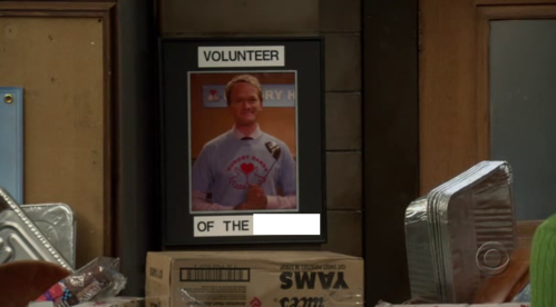 "Barney is volunteer of the ______ in 1x09 ""Belly Full of Turkey""."