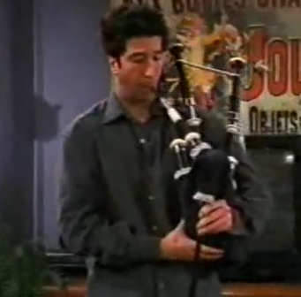 What song does Ross play with the bagpipes?