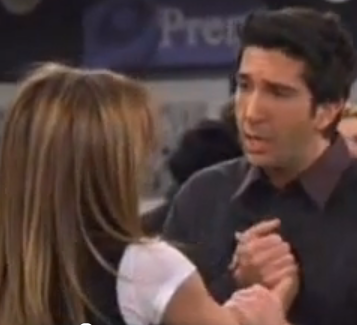 "In ""The last one"" when Ross goes to the airport to stop Rachel and tell her he loves her...What is Rachel's response?"