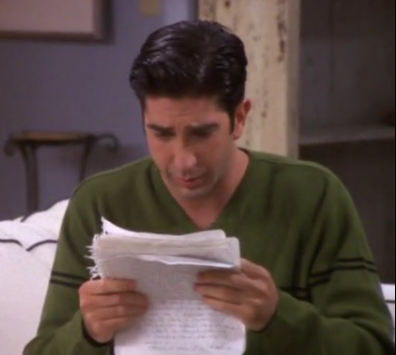 """The 18 page letter Rachel wrote to Ross ended with the Вопрос """"Does it?"""". What was Rachel asking?"""