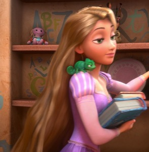 Rapunzel read these books in the tower except __________.