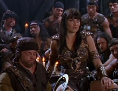 Who are these men sitting around Xena?