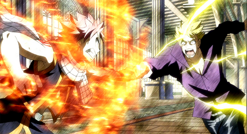 Natsu defeated Laxus with the help of whom?