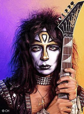Which Kiss member created Vinnie Vincent's egyptian warrior makeup?