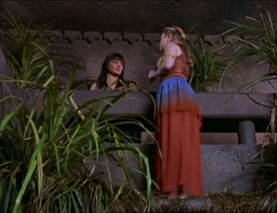 Xena to Princess Jana: &#34;Meet me in the grotto tonight when the moon is in the __________ sky.&#34;