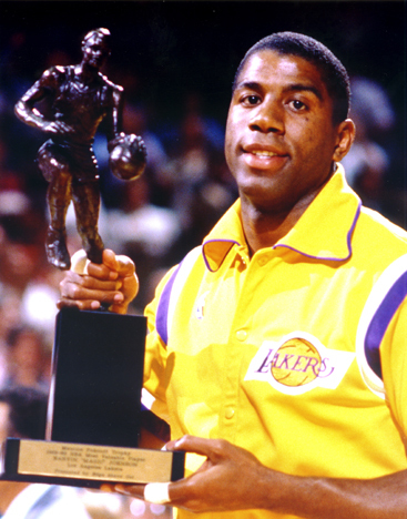 How many times was Magic Johnson named the NBA's Most Valuable Player?