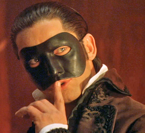 What color are the eyes of the Phantom in the movie?