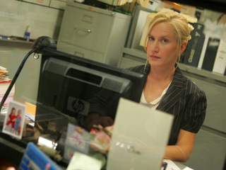 """Angela: """"Under no circumstances should a man strip off his clothes in this office!""""   Who replies, """"SHUT UP ANGELA!!!""""?"""