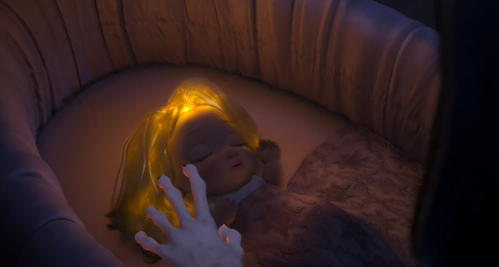 What is the last line that Mother Gothel pronounces before cutting Rapunzel's hair at the beginning of the film?