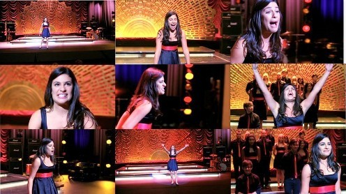 "Rachel & Broadway: She's singing ""Don't rain on my parade"", from the musical..."
