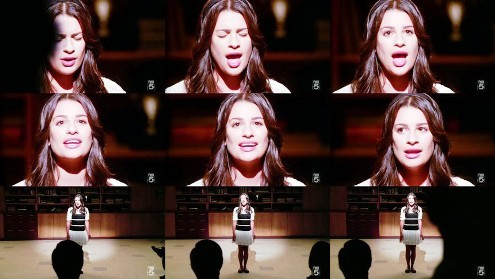 "Rachel & Broadway: She's singing ""Defying gravity"", from the musical..."