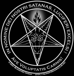 """What does """"In Nomine Dei Nostri Satanas Luciferi Excelsi, Ave Voluptartis Carnis"""" translate in english mean?."""