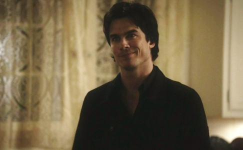 """To risk another frown line encroaching on a very crowded forehead..."" Damon in what episode?"
