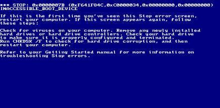 In which version of Windows this blue screen is shown?