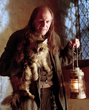 Argus Filch owns a cat to which he is very close. What's her name?