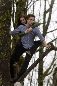 Which Book/Movie did Edward take Bella flying through the trees and sitting on árbol tops?
