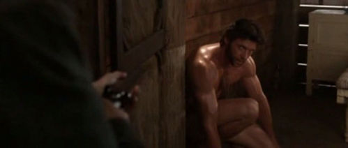 in x-men wolverine where is logan nude at